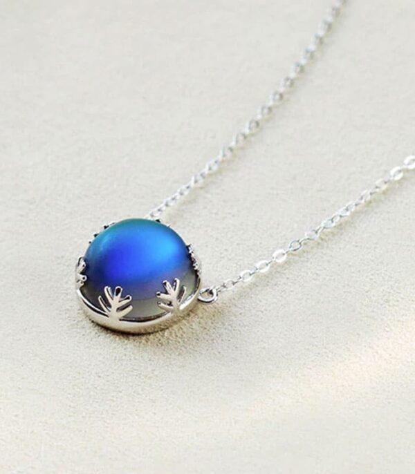 Aurora Pendant Necklace Halo Crystal Gem S925 Sterling Silver Elegant Engagement