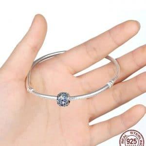 Blue Crown Night Sky Bead fit Original Pandora charms silver 925 Bracelet Pulsera