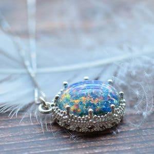 Blue Opal Oval Pendant Silver 925 Sterling Fine Necklace