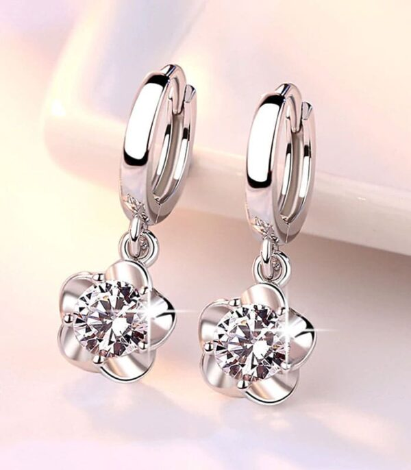 Clear Original Stud Earrings Rose Flower Cubic Zirconia 925 Sterling Silver