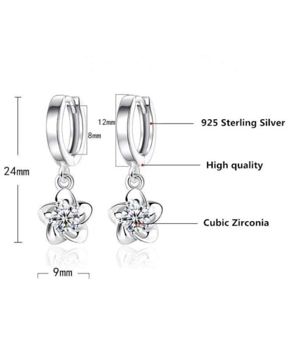 Clear Original Stud Earrings Rose Flower Cubic Zirconia 925 Sterling Silver