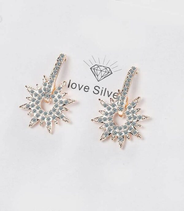 Crystals Sunflower Stud Earrings Real S925 Silver Piercing Fine Jewelry
