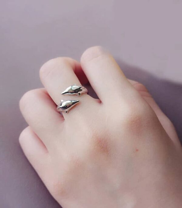 Genuine 925 Sterling Silver Smooth Surface Cute Dolphin Adjustable Ring Fine Jewelry