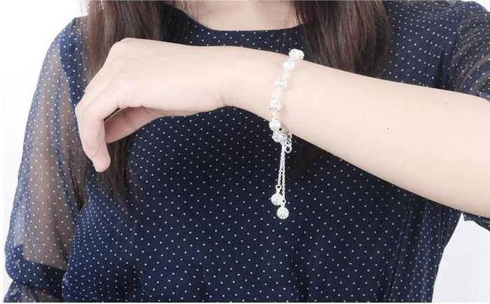 Hollow Ball Ladies 925 Sterling Silver Bracelets