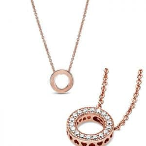 Pave Circle Heart Necklace Crystal Necklaces Fashion Pendant 925 Sterling Silver Pink