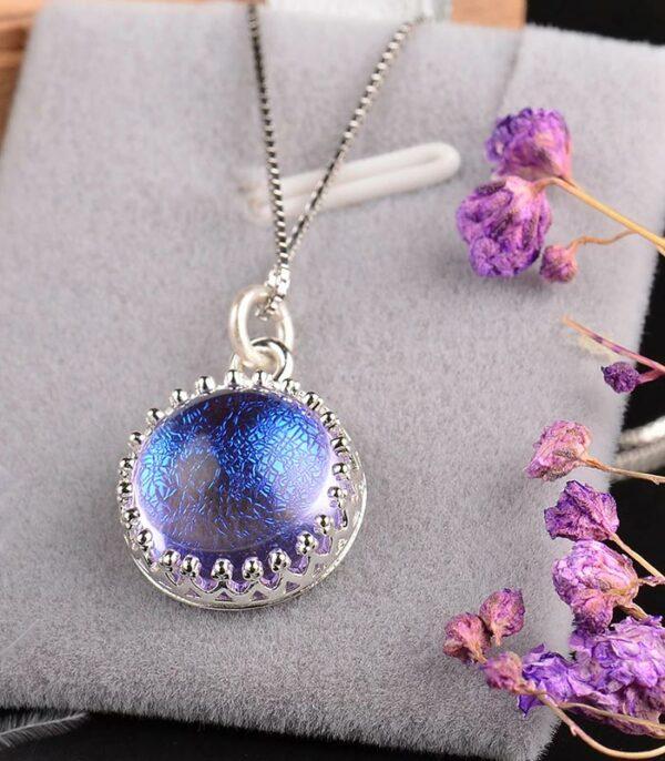Romantic Gemstone Pendant Necklace Magic Elegant Blue-Violet Gradient s925 Silver