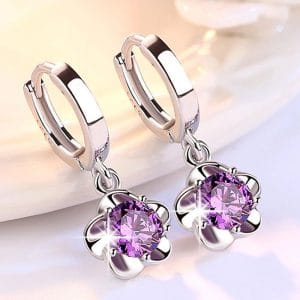 Purple Original Stud Earrings Rose Flower Cubic Zirconia 925 Sterling Silver