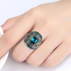 Antique Vintage Ring Aquamarine Gemstone Fine 925 Sterling Silver Jewelry