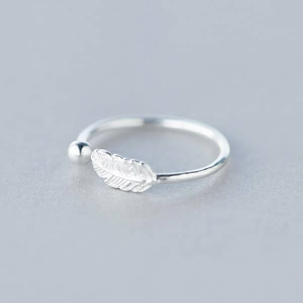 Genuine Feather Adjustable Ring 925 Sterling Silver Fine Jewelry