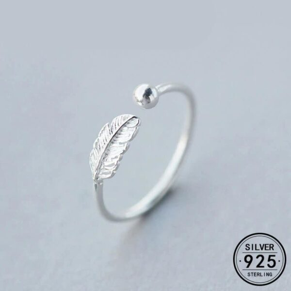 Authentic Feather Adjustable Ring 925 Sterling Silver Fine Jewelry