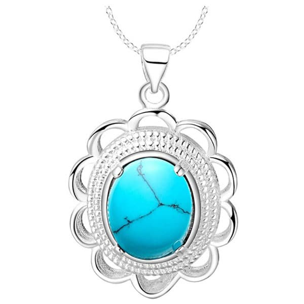 Bague Ringen Turquoise Flower Shaped 925 Sterling Silver Necklace