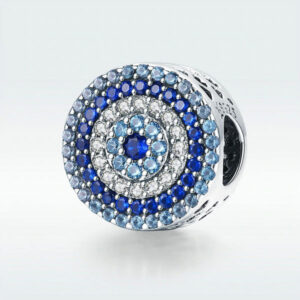 Blue Eye Lucky Blue Cubic Zircon Beads Charms fit Necklace Bracelets Jewelry 925 Sterling Silver