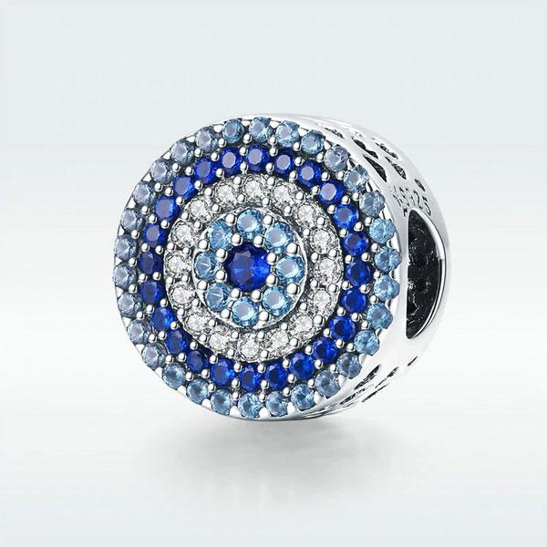 Blue Eye Lucky Blue Cubic Zircon Beads Charms fit Necklace Bracelets Jewelry 925 Sterling Silver