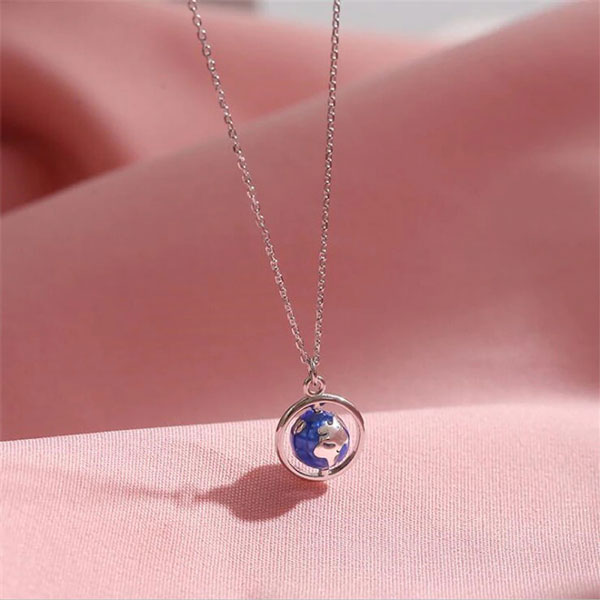 Creative Globe Planet 925 Sterling Silver Necklaces