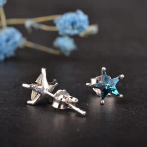 Elegant Blue Zircon 925 Sterling Silver Earrings Shining Star Studs