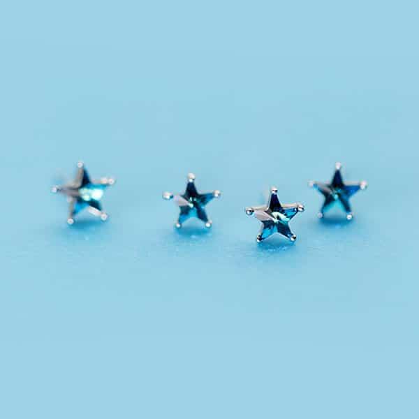 Elegant Blue Zircon 925 Sterling Silver Earrings Shining Star Studs