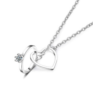 Exquisite Love Necklaces Double Circle Crystal Heart Shaped 925 Sterling Silver
