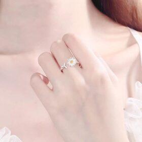 Genuine 925 Sterling Silver Daisy Flower Adjustable Rings