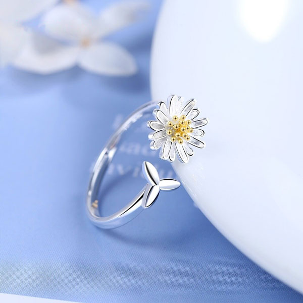 Genuine 925 Sterling Silver Daisy Flower Adjustable Rings
