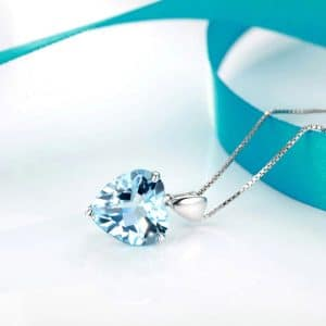 Heart-Shape Sapphire 925 Sterling Silver Necklace