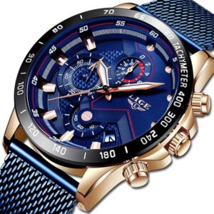 LIGE Luxury Watches Chronograph Relogio Masculino Waterproof Full Steel Quartz Wrist