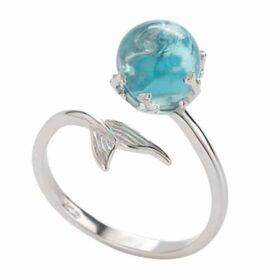 Original 925 Sterling Silver Adjustable Ring Open Blue Crystal Mermaid Bubble