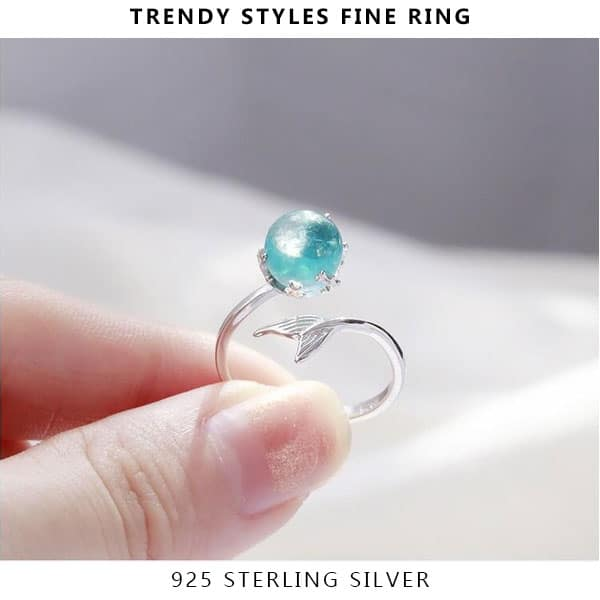 Original 925 Sterling Silver Adjustable Ring Open Blue Crystal Mermaid Bubble