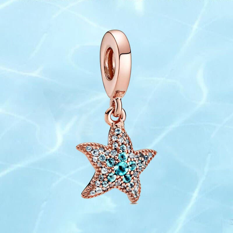 Original Bracelet Sparkling Starfish Dangle Charm 925 Sterling Silver Jewelry