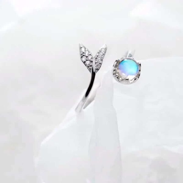 Original Cute Tail Moonstone Adjustable 925 Sterling Silver Ring