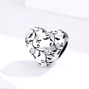 Original Heart Beads Pattern Charm Pastoral Style Retro Flower 925 Sterling Silver Jewelry