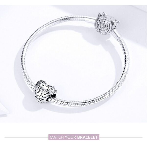 Original Heart Beads Pattern Charm Pastoral Style Retro Flower 925 Sterling Silver Jewelry 8