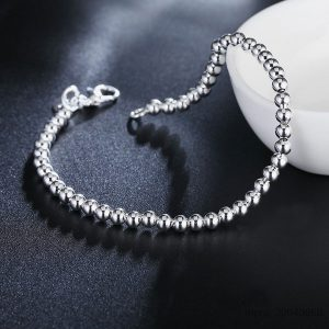 Original Solid 925 Sterling Silver Fashion 4mm Beads Chain Bracelet 20cm Fine Jewelry