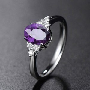 Resizable 925 Sterling Silver Ring With Purple Oval Emerald Gemstone