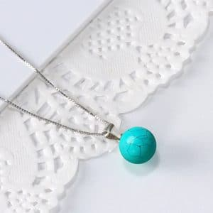 Trendy 925 Sterling Silver Necklace Natural Round Turquoise Jewelry