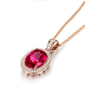 Trendy Oval Shape Ruby Zircon 925 Sterling Silver Necklace