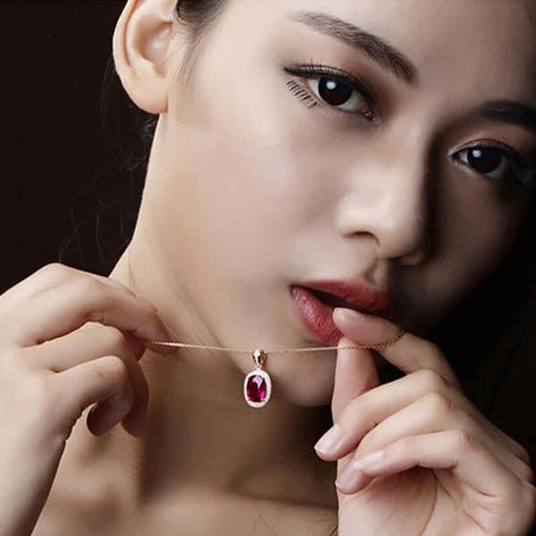 Trendy Oval Shape Ruby Zircon 925 Sterling Silver Necklace