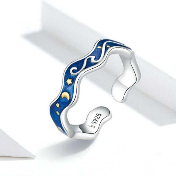 Van Gogh Starry Night Wave 925 Sterling Silver Romantic Rings