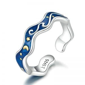Van Gogh Starry Night Wave 925 Sterling Silver Romantic Rings