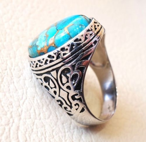 Vintage Antique Natural Black Green Oval Turquoise Ring