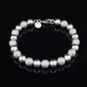 8mm Beads Chain Bracelets 925 Sterling Silver