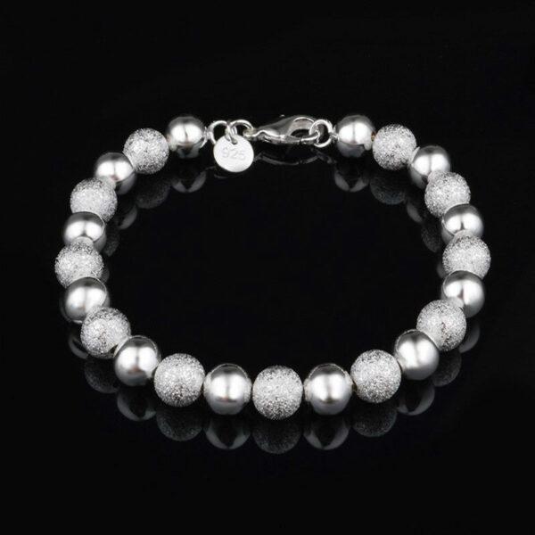 8mm Beads Chain Bracelets 925 Sterling Silver