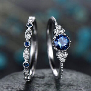 925 Silver Jewelry Sapphire Blue Round Cut Zircon Stone Rings