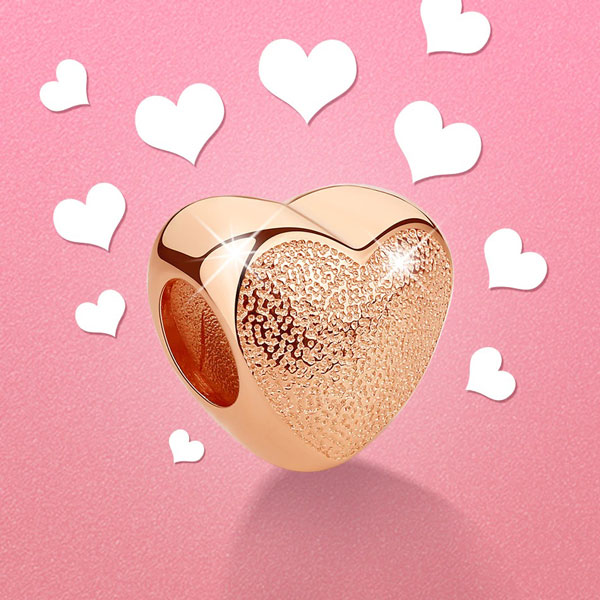 925 Sterling Silver Spacer Heart Rose Gold Charms