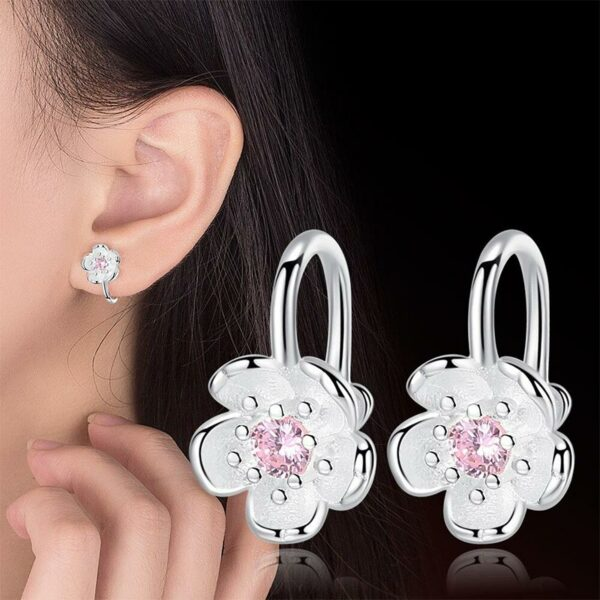 Blossom Cubic Zirconia Clip Earrings 925 Sterling Silver