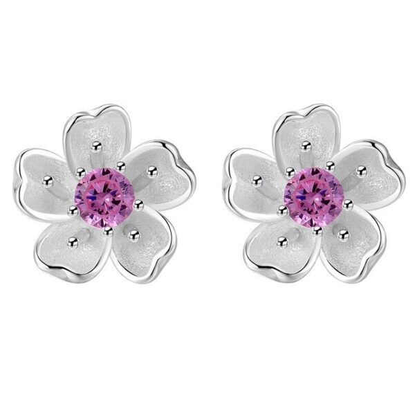 Blossom Cubic Zirconia Stud Earrings 925 Sterling Silver
