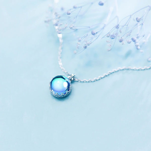 Blue Aurora Forest Sapphire 925 Sterling Silver Necklace