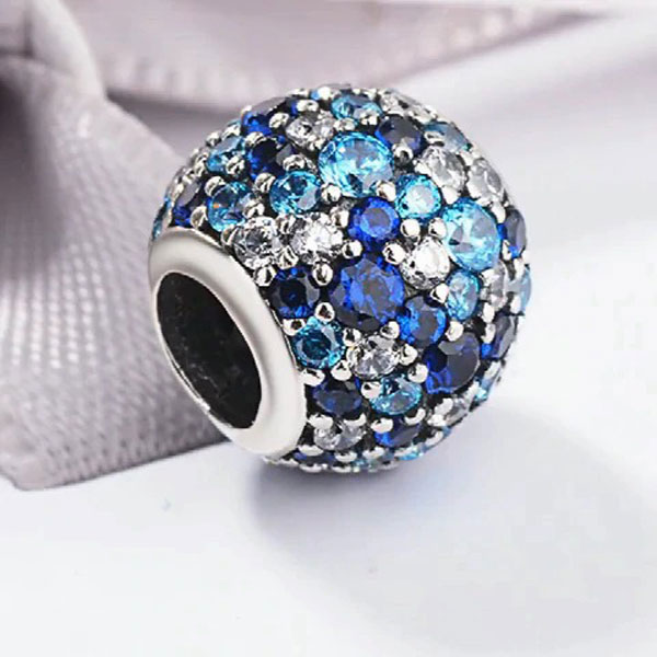 Blue Crown Night Sky Bead charms silver 925