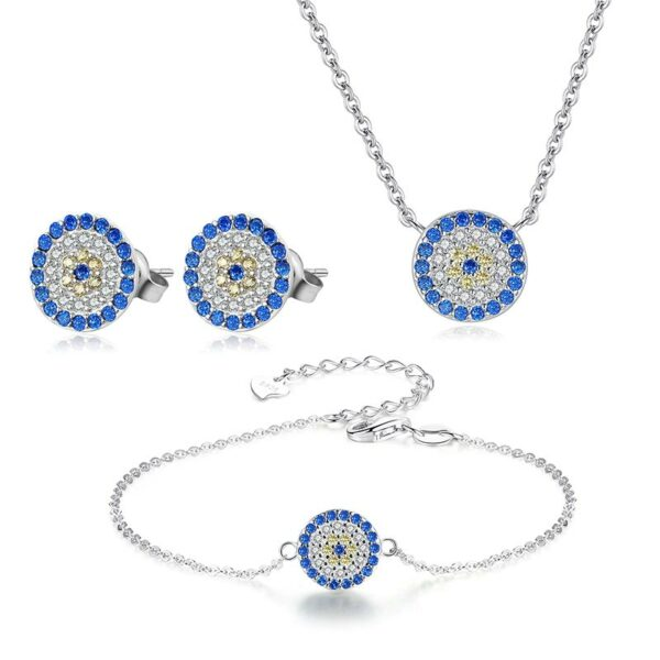 Blue Eye 3 Piece Set Earrings + Bracelet + Necklace 925 Sterling Silver