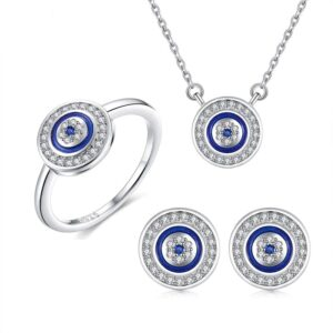 Blue Eye Set Jewellery Necklace Ring Earrings