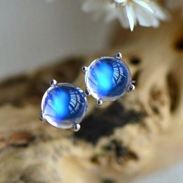 Blue Moonstone Stud Earrings 925 Sterling Silver